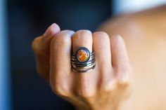 Mexican Fire Opal Ring 14K Gold Stacking Ring  by jaunebleu