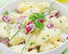This creamy, herb-filled potato salad can be made with blue potatoes. It's fun to play with color in your cooking, and the blue color is a source of flavonoid I Love Food, Good Food, Yummy Food, Vegetarian Recipes, Cooking Recipes, Healthy Recipes, Salad Recipes, Healthy Salads, Blue Cheese Potato Salad