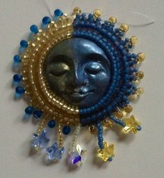 Celestial Sun Moon necklace bead embroidery pin or  necklace on Etsy, $65.00