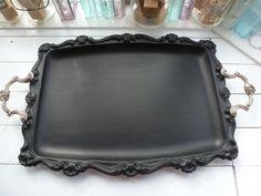 Huge Vintage Chalkboard Tray, Silver Plated Chalkboard Tray, Antique Tray Re-purposed Tray #upcycle #diy