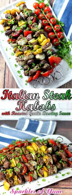 Looking to make something that is beyond flavorful, juicy, and tender? These Italian Steak Kabobs with Roasted Garlic Basting Sauce is the recipe you need! #steak #Italian #grilling #dinnerideas via @sparklesofyum