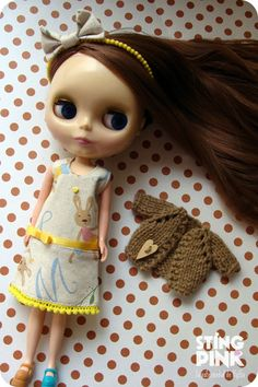 Outfit for Blythe yellow Dress Tiara and Cardigan by StingPink, $26.00