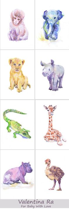 Baby Animals Nursery Set of 8 prints Watercolor by ValrArt on Etsy