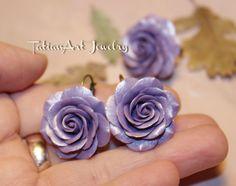 Set Purple Rose Unique Gift Flower earrings di TatianArtJewelry