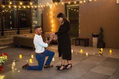 Sparkling rooftop with the Empire State Building View is a perfect way to surprise your partner with the romantic proposal.  #rooftopproposal #proposalideas #engagamenetideas #nycrooftops