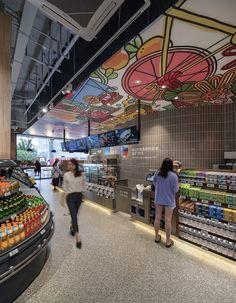 ALDI enters China with store design by Landini Associates Supermarket Design, Retail Store Design, Pilot Store, Aldi Store, Retail Space, Ceiling Design, Terrazzo, Shanghai, Skyscraper