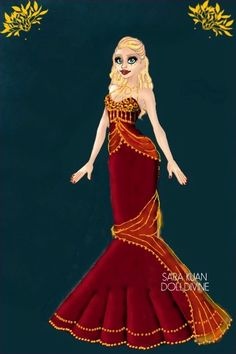 Red and Gold by Mytherva ~ Urban Chic Deluxe Fashion Chic Dress, Dress Up, Up Game, Urban Chic, Modern Fashion, Fashion Dolls, Aurora Sleeping Beauty, That Look, Disney Princess