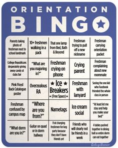 College Orientation Bingo - College Humor minus the keg party this would be pretty funny for next year's orientation!