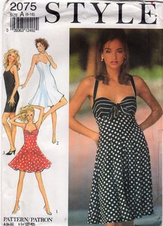 Style 2075 Misses Halter DRESS Pattern Sweetheart Neck criss cross back 4 styles womens sewing pattern by mbchills