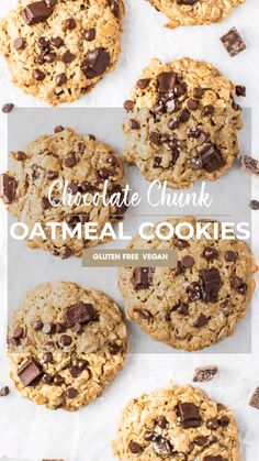 Delicious Vegan Oatmeal Cookies — with chocolate chips or raisins! Made with oats and Sunflower Seed Vegan Oatmeal Cookies, Oat Cookie Recipe, Cookies Gluten Free, Healthy Oatmeal Cookies, Chocolate Paleo, Oatmeal Chocolate Chip Cookie Recipe, Oatmeal Cookie Recipes, Chocolate Chips, Sin Gluten