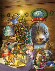 Christmas Illustration by Mick McGinty Christmas Scenes, Christmas Animals, Christmas Past, Christmas Pictures, Christmas Greetings, Winter Christmas, Christmas Crafts, Celebrating Christmas, Family Christmas