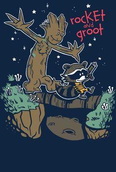 GUARDIANS OF THE GALAXY Rocket Groot Calvin Hobbes Limited Womens T-Shirt S-XL #Gildan #GraphicTee