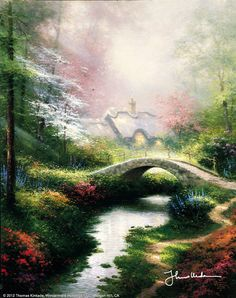 "Brookside Hideaway [1995] © Thomas Kinkade ""rookside Hideaway is my Valentine's Day gift to lovers everywhere. It's the perfect romantic hideaway, lavish with flowers... and on close examination you'll also find a few hearts hidden away in the distance and among the foliage. Ah, sweet love!"""