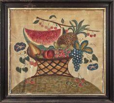 Oil on velvet theorem of a basket of fruit, 19th