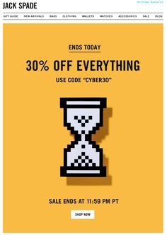 jack spade. cyber monday sale. cool graphic. email design.