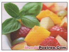Frutas con sirope de frutillas