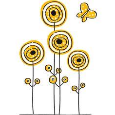 #Flores y mariposa. #Vinilo decorativo de pared