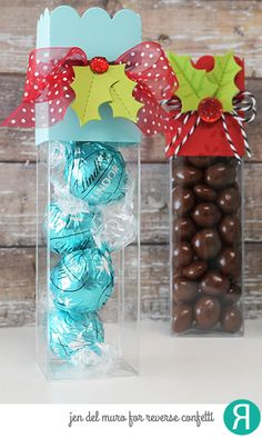 DIY Christmas and Winter treat boxes by Jen del Muro for Reverse Confetti. Confetti Cuts: Treat Tube Topper and Holly. Other: Treat Tubes. RC Cardstock: Iced Aqua and Lime Green.