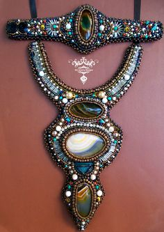 """Ani Jewelry Designs bead embroidery Skopje Macedonia sold* handmade unique """"Saturn"""" space dust stars earth"""