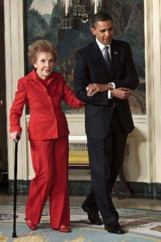 Gracious President Obama with former First Lady Nancy Reagan