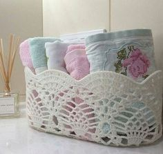 This Pin was discovered by Ayl Doilies Crafts, Crochet Doilies, Yarn Crafts, Diy And Crafts, Yarn Projects, Crochet Projects, Victorian Baskets, Doily Art, Knitting Patterns
