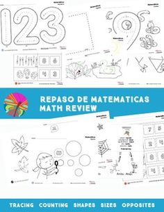 Math review in Spanish.   Great to use with K to 1st grade new students.