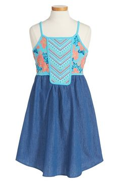 Roxy 'Pacific Rim' Embroidered Bodice Tank Dress (Big Girls)