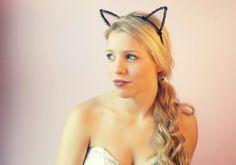 Black rhinestone cat ears. #meow #halloweencostume Www.Beyondaveil.etsy.com