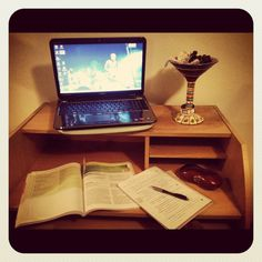 "Katelyn studies in her ""knowledge nook!""  