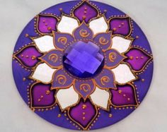 Mandala em CD Azul e Violeta