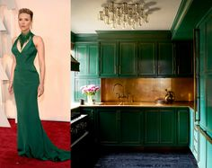 Kelly Wearstler Interior Design Living Room - Cameron Diaz Manhattan Apartment - ELLE DECOR, green kitchen cabinets with gold trim, brass hardware, brass backsplash Manhattan Kitchen, Manhattan Apartment, York Apartment, Halifax Apartment, Manhattan House, Celebrity Kitchens, Celebrity Houses, Celebrity Bedrooms, Celebrity Style