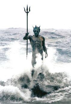 Estatua de Neptuno, de Luis Arencibia, en la playa de Melenara, Telde, Isla de Gran Canaria.