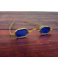 Antique Victorian Colored Eyeglasses / Brass Flip Lens by MidMod