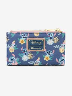 Hot Topic made waves with this Stitch and Scrump floral wallet. This wallet is big enough to hold the essentials while small enough to fit into a purse Lelo And Stitch, Lilo Stitch, Disney Stitch, Disney Handbags, Disney Purse, Disney Phone Cases, Cute Stitch, Cute Wallets, Disney Merchandise