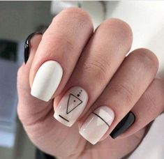 Geometric nail art designs look beautiful and chic on short and long nails. Geometric patterns in any fashion field are the style that fashionistas dream of. This pattern has been popular in nail art for a long time, because it is easy to create in n Classy Nails, Stylish Nails, Simple Nails, Trendy Nails, Cute Acrylic Nails, Cute Nails, My Nails, Minimalist Nails, Long White Nails