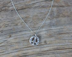 Peace Sign silver charm necklace handmade by SilverAddictionJwlry