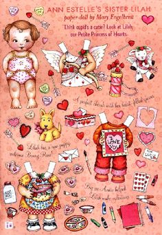 Ann Estelle's Sister Lilah paper doll by Mary Engelbreit - Valentine's Day