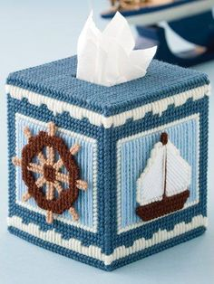 Nautical tissue box cover plastic canvas pattern only from a book