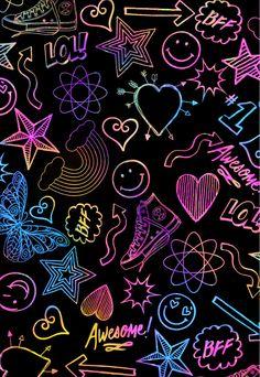Wallpaper Doodle, Wallpaper Iphone Neon, Phone Screen Wallpaper, More Wallpaper, Galaxy Wallpaper, Wallpaper Backgrounds, Gothic Wallpaper, Neon Quotes, Neon Aesthetic