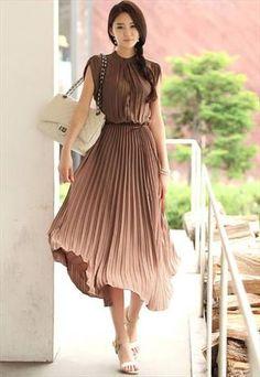 Guest: New Elegant Slim Fit Brown Color Long Dress