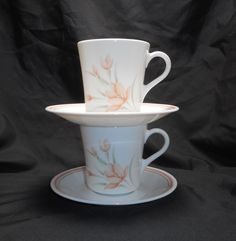 Corning Corelle PEACH FLORAL Cups and Saucers, Set of 2 by ColectbleKtchns on Etsy