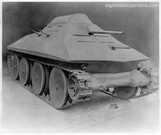 WWII, 1937 - US Army Bigley Gun Motor Carriage (aka Bigley Tank), which was a pre-war experimental, high-speed armored vehicle with a Christie suspension.