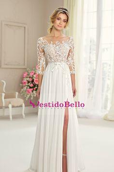 2017 vestidos de novia Scoop 3/4 longitud mangas gasa con apliques