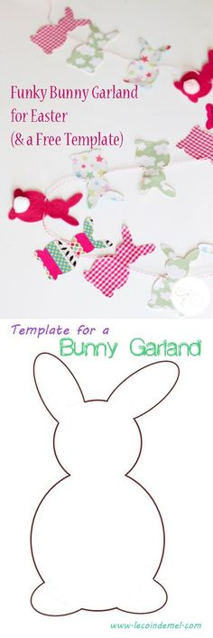 Funky Bunny Garland for Easter & Template More