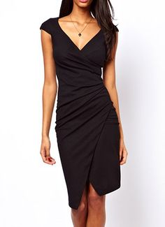 Plicated Beam Waist Packet Buttock Asymmetrical Hem Polyester Solid Color Dress For Women
