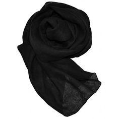 Pashmina in puro lino, di colore nero.