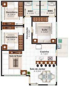 Resultado de imagen para planos de casas pequeñas con 2 habitaciones con medidas