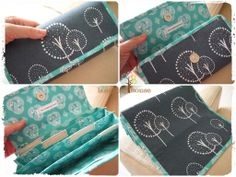 """Just completed this rainy afternoon: Custom Made Cash Budgeting Purse, with sewn on fabric labels. I had my reservation when the customer chose this combination, but somehow the fabric always finds a way to """"justify"""" themselves. They looked """"winsome"""" together"""