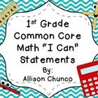 """These are the 1st grade common core math standards that have been turned into """"I-can"""" statements for students. They are more kid friendly and can b..."""