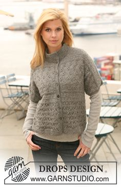 """Knitted DROPS jacket with short sleeves and lace pattern in """"Classic Alpaca"""". Size S - XXXL. ~ DROPS Design"""